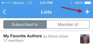 Mobile Create Twitter List
