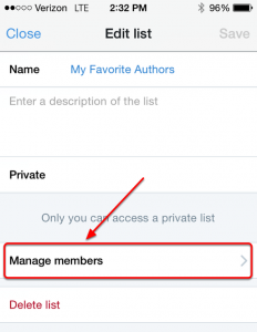 Mobile List Manage Members