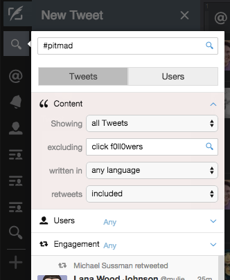 Filter #PitMad Tweets Tweetdeck
