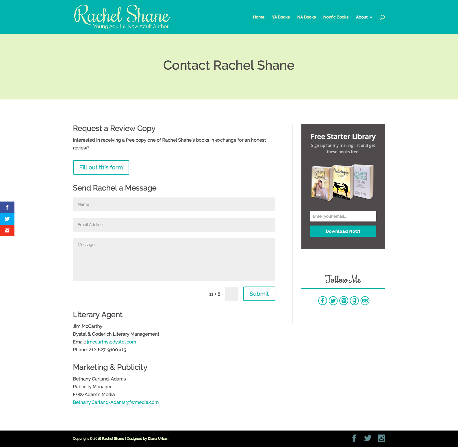 Rachel Shane's Contact Page