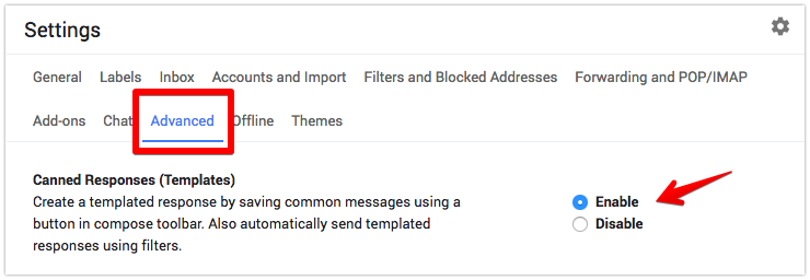Gmail - Settings - Advanced - Canned Responses