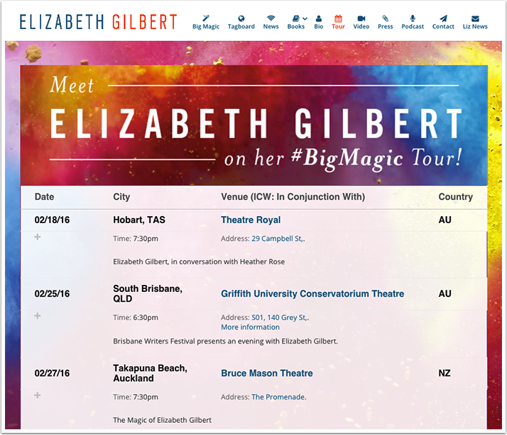 Elizabeth Gilbert's Tour Page