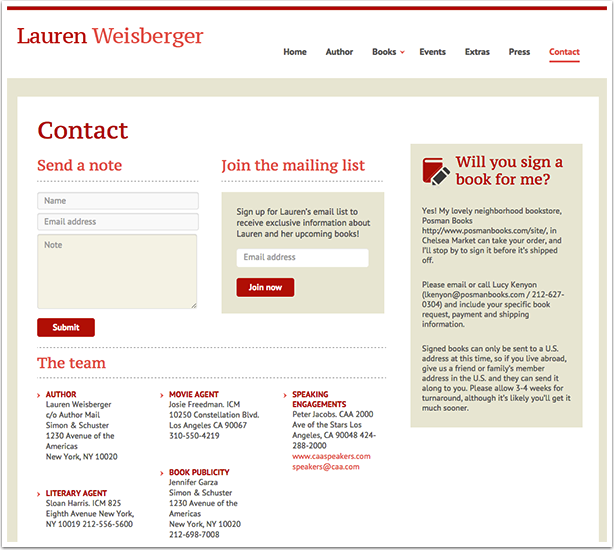 Lauren Weisberger's Contact Page